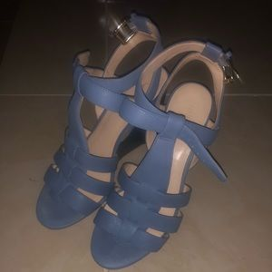 Nine West Leather Strappy Wedge Sandal